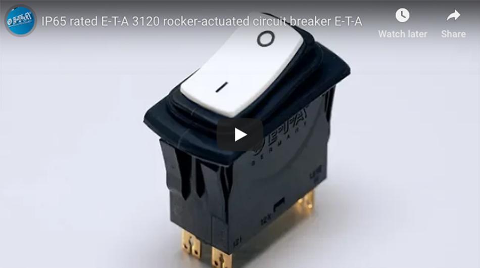 IP65 Rated 3120-N Rocker Actuated Circuit Breake